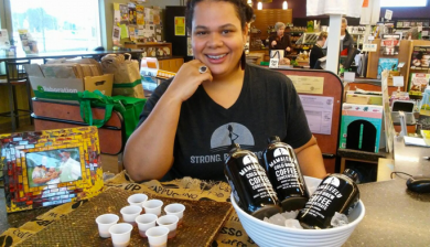 woman with cold brew coffee business