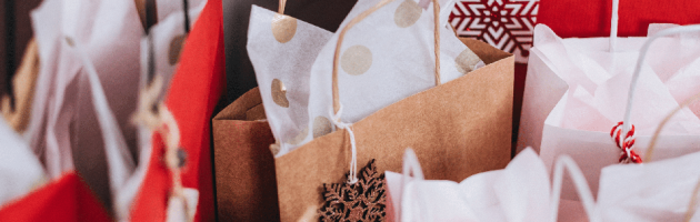 happy holidays words with gift bags